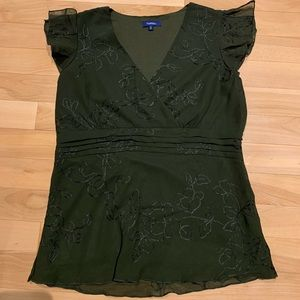 Womens short sleeve sheer dress top with layer-szS
